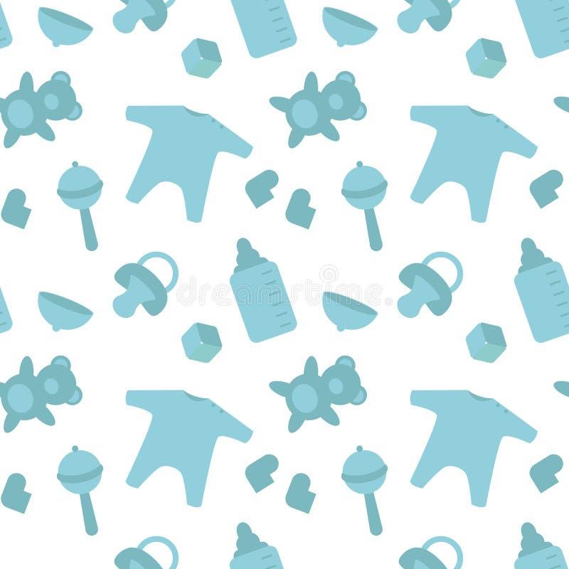 Dziecko rzeczy urodzony błękitny wzór Nowonarodzony wystroju szablonu opakowanie royalty ilustracja