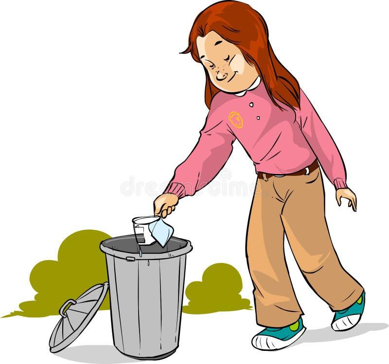 Dziecko rzutu śmieci ilustracja wektor