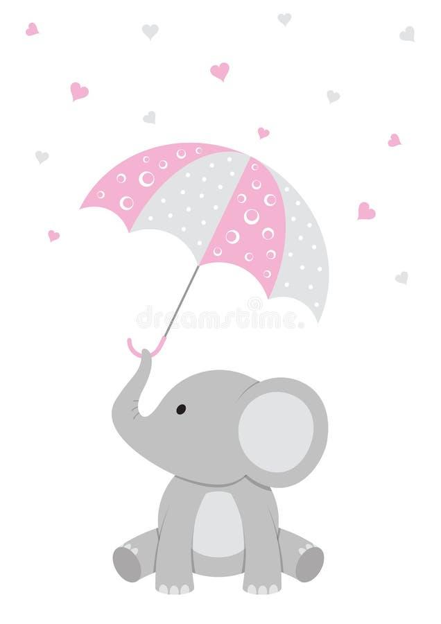 Dziecko słoń - Różowa dziecko prysznic royalty ilustracja