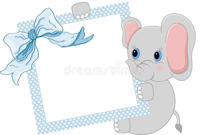 Dziecko słoń trzyma błękita faborek i ramę royalty ilustracja