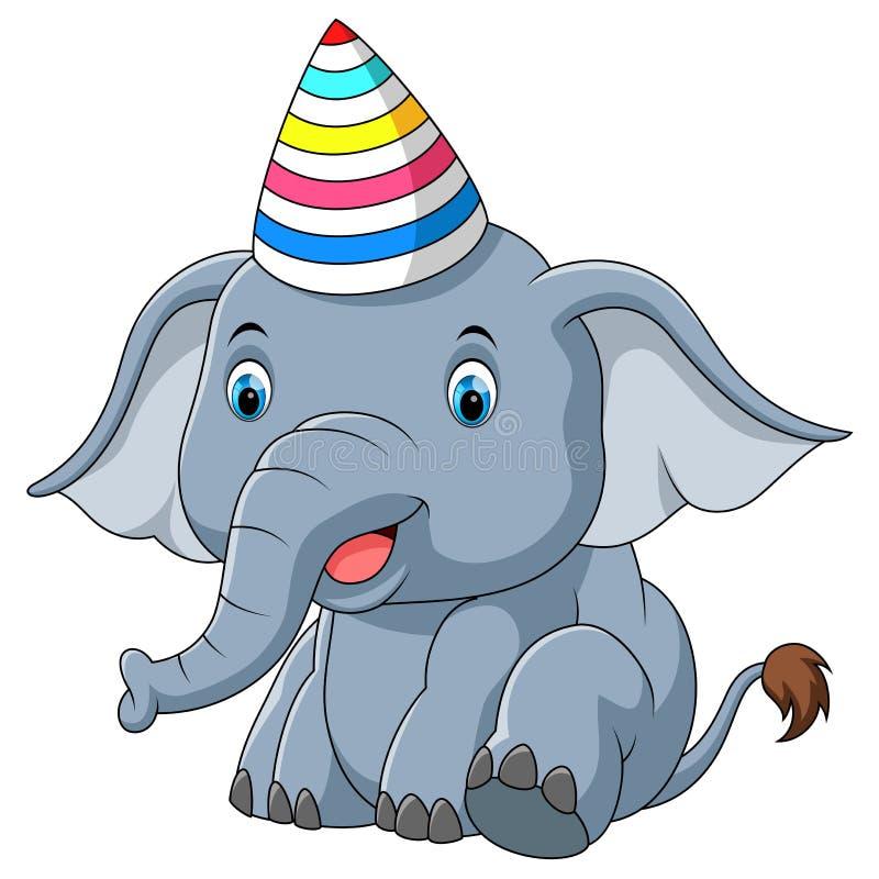 Dziecko słoń używać kapelusz partyjną kreskówkę royalty ilustracja