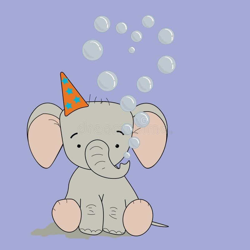Dziecko słoń z bąbla sercem 2 royalty ilustracja