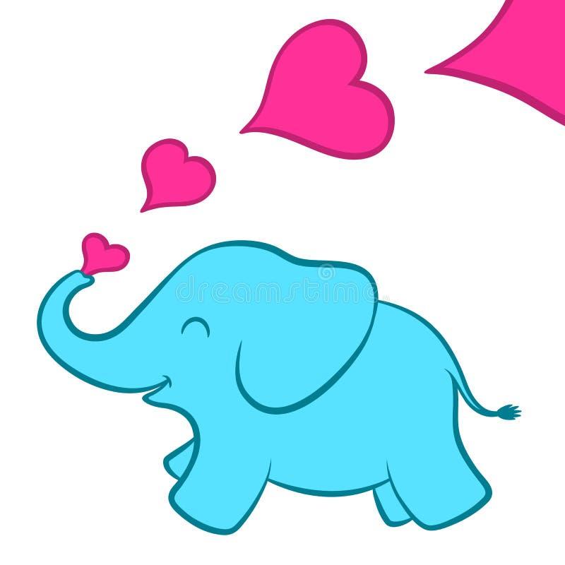 Dziecko słonia łydka z różowymi sercami ilustracji