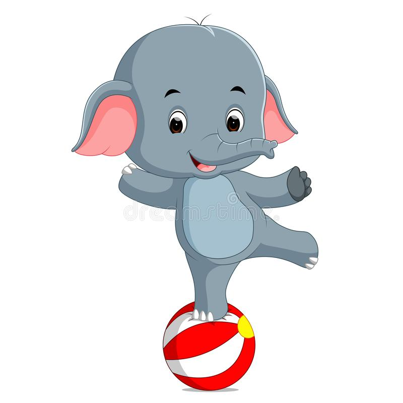 Dziecko słonia cyrkowy równoważenie na dużej piłce ilustracja wektor