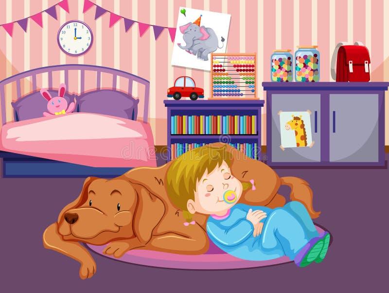 Dziecko sen z psem ilustracji
