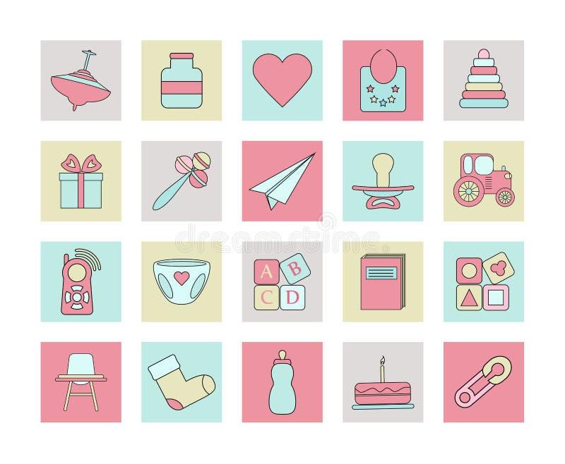Dziecko sieci ikony set ilustracji
