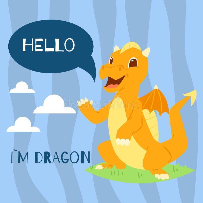 Dziecko smok z teksta sztandaru wektoru ilustracją cześć Kreskówka śmieszny charakter z skrzydłami Czarodziejski dinosaurów witać royalty ilustracja