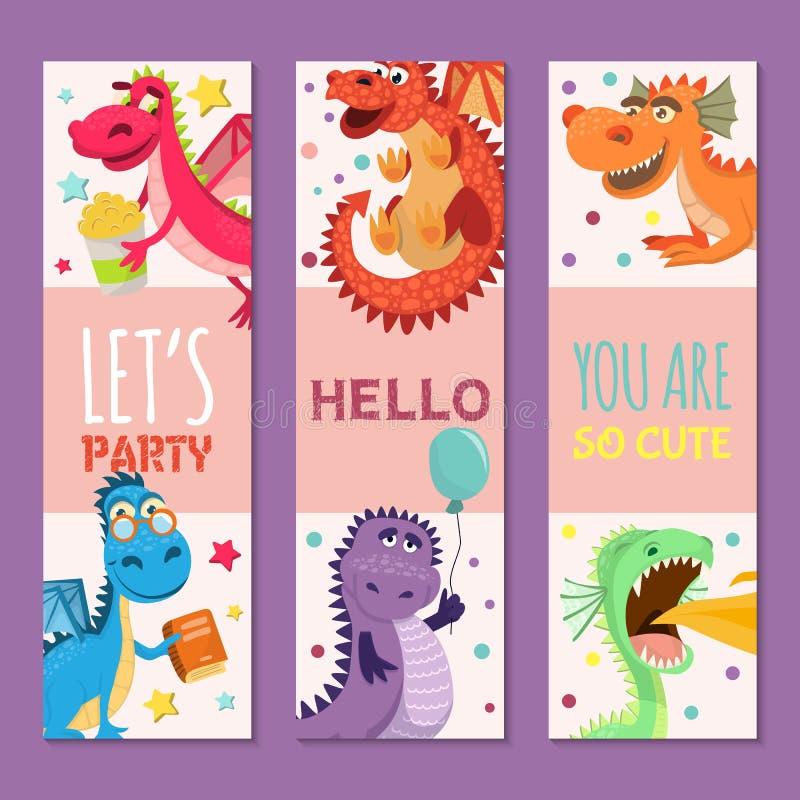 Dziecko smoki ustawiający urodziny lub zaproszenia sztandarów wektoru ilustracja Kreskówka śmieszni mali siedzący smoki z skrzydł ilustracji
