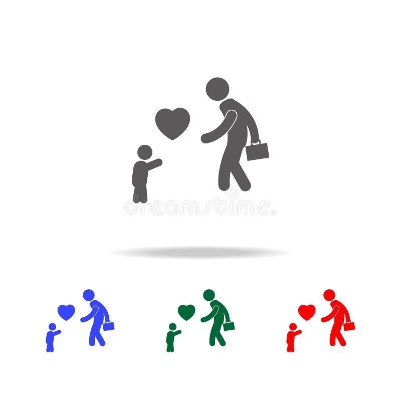 dziecko spotyka jego ojca po pracy z miłości ikoną Elementy rodzinne wielo- barwione ikony Premii ilości graficznego projekta iko ilustracji