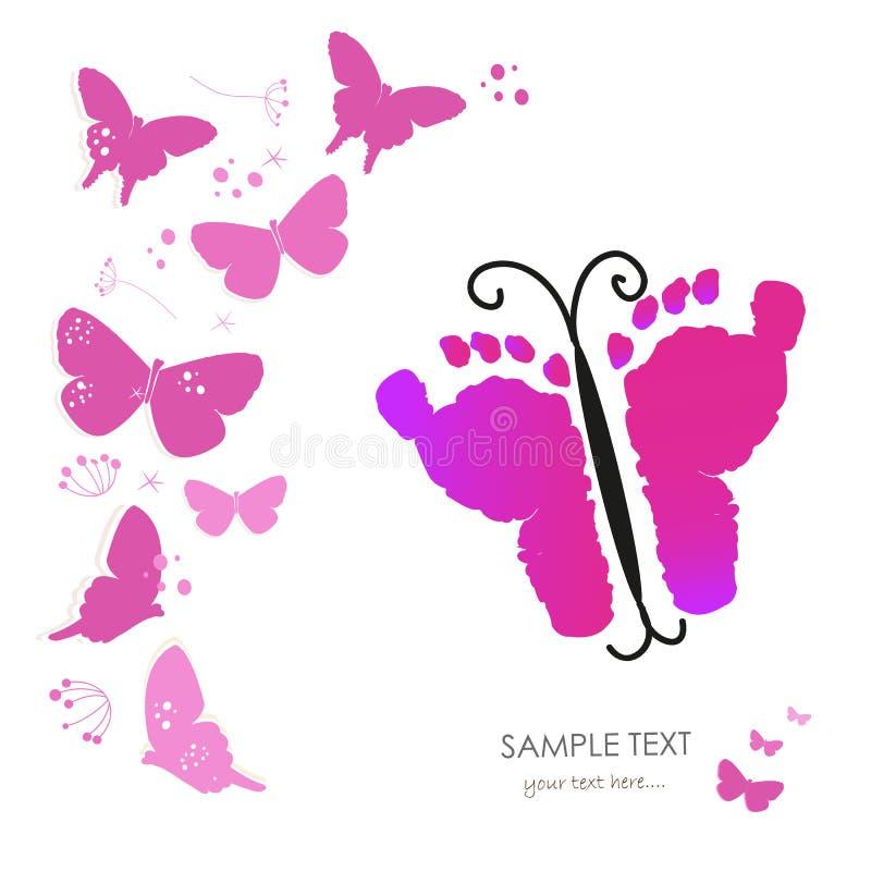Dziecko stopy druki i motyli nowonarodzony dziecka kartka z pozdrowieniami wektor ilustracja wektor