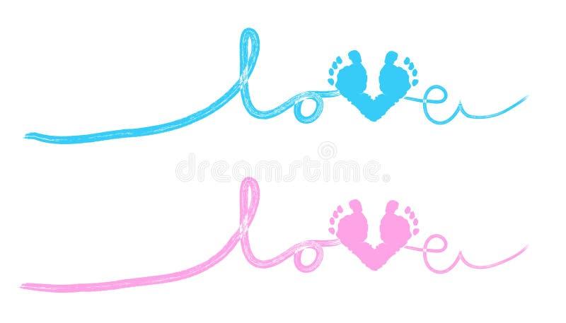 Dziecko stopy druki z kierowym dziecko prysznic kartka z pozdrowieniami ilustracji