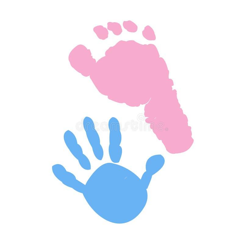 Dziecko stopy i dziecko ręki druki Dziewczynki chłopiec Bliźniaczy dziecko symbol royalty ilustracja