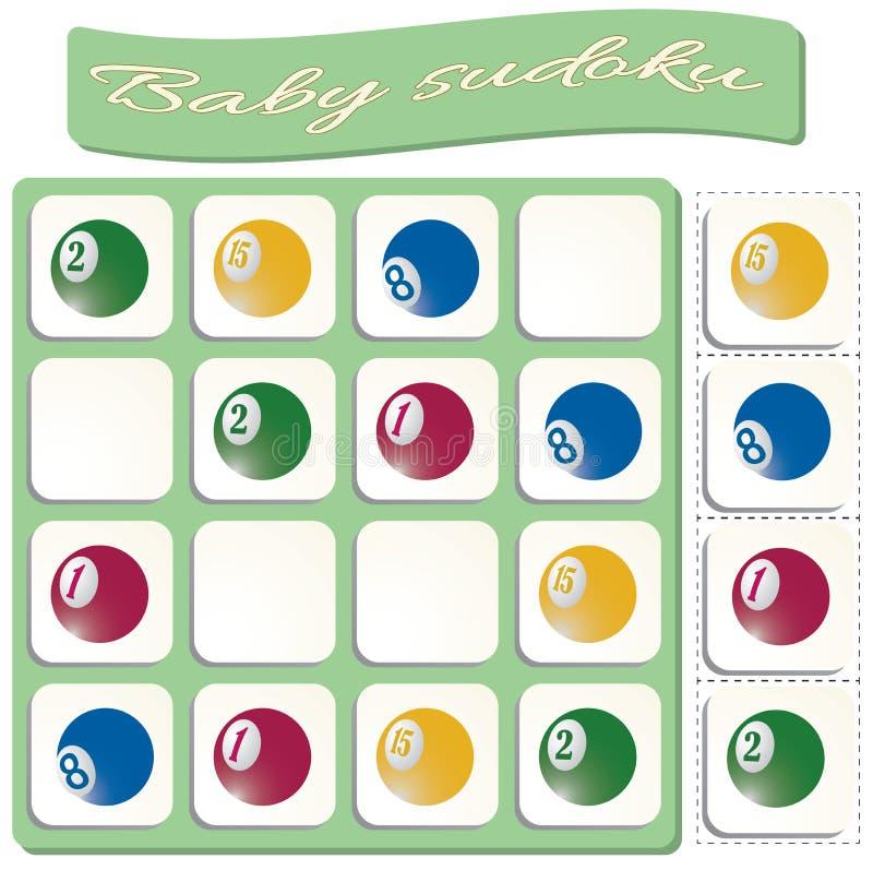 Dziecko Sudoku z kolorowymi bilardowymi piłkami ilustracji