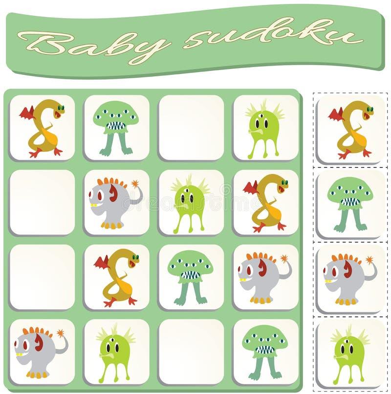 Dziecko Sudoku z kolorowymi bilardowymi pi?kami ilustracja wektor