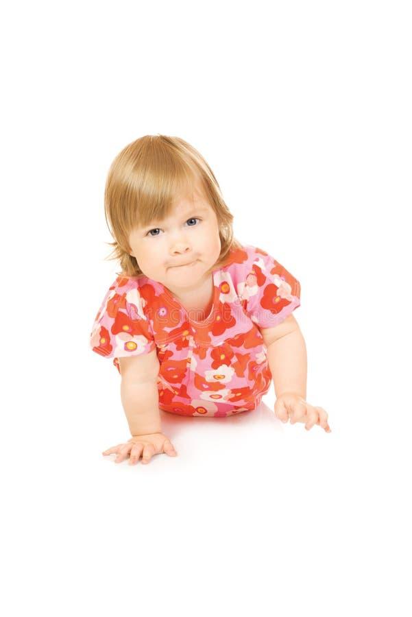 dziecko sukni odosobniony czerwony mały ono uśmiecha się obrazy stock
