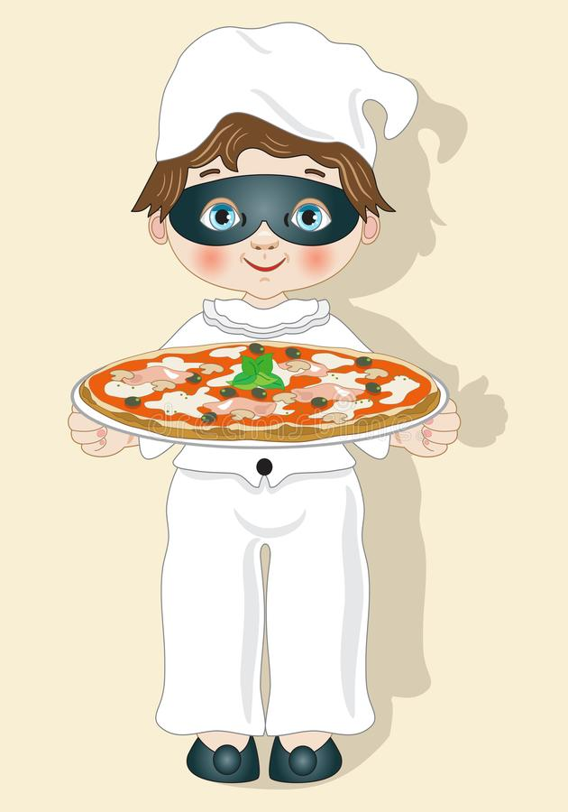 Dziecko suknia jak pulcinella z pizzą royalty ilustracja