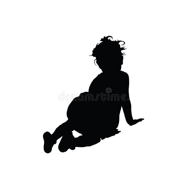 Dziecko sylwetka siedzi na podłodze ilustracji