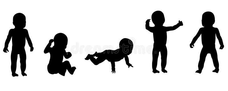 dziecko sylwetki royalty ilustracja