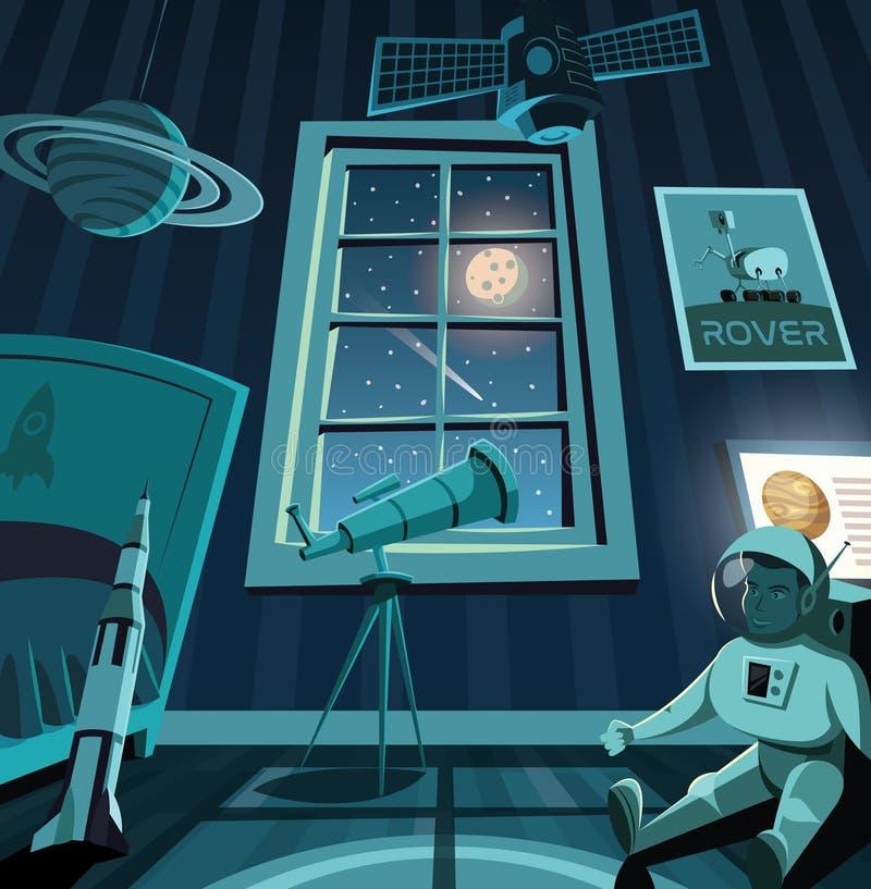 Dziecko sypialnia przyszłościowy astronauta royalty ilustracja