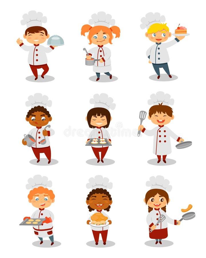 Dziecko szefowie kuchni gotuje set, śliczne chłopiec i dziewczyna charaktery przygotowywa posiłek wektorowe ilustracje na białym  ilustracji