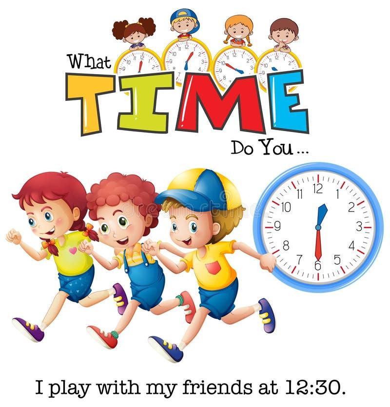 Dziecko sztuka przy 13:30 ilustracja wektor