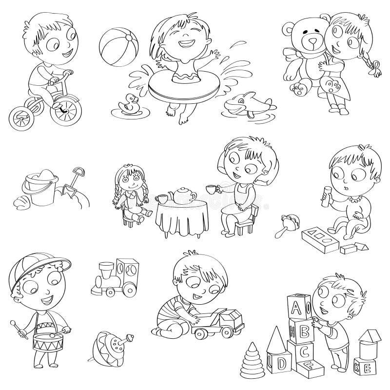 Dziecko sztuka z zabawkami royalty ilustracja