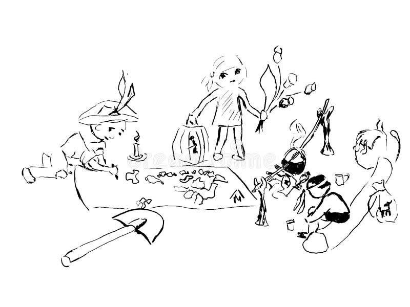 Dziecko sztuki skarbu myśliwi ilustracji
