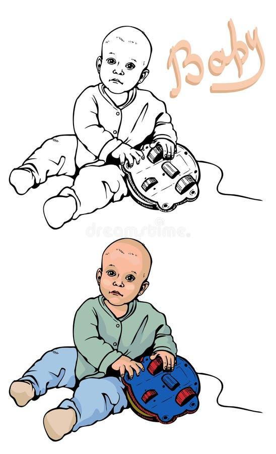 Dziecko sztuki z zabawką ilustracji