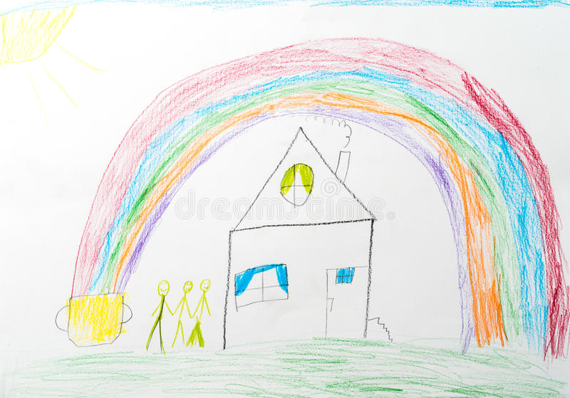 dziecko target1413_1_ s domowej tęczy szczęśliwa rodzina ilustracji