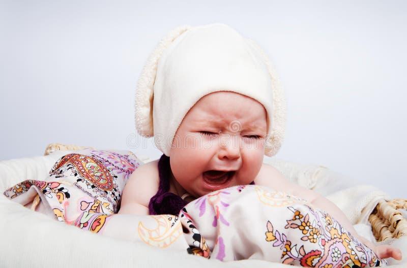 dziecko target458_1_ śliczny kapeluszowy głośnego głośny obraz royalty free
