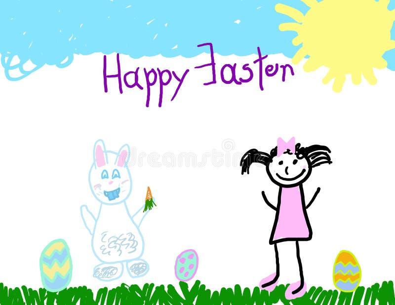 dziecko target583_1_ Easter szczęśliwy s ilustracji