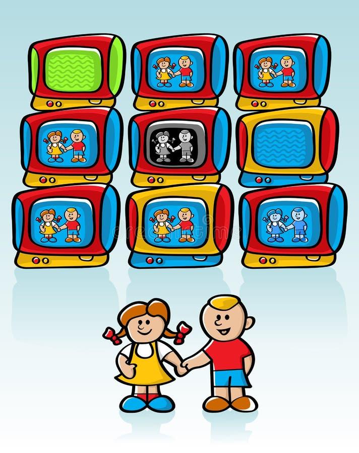 dziecko telewizja s royalty ilustracja