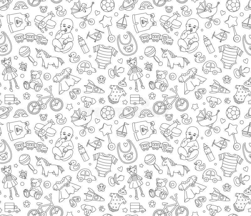 Dziecko towarów sklepu tła bezszwowego wzoru Nowonarodzeni produkty i zabawki ilustracji