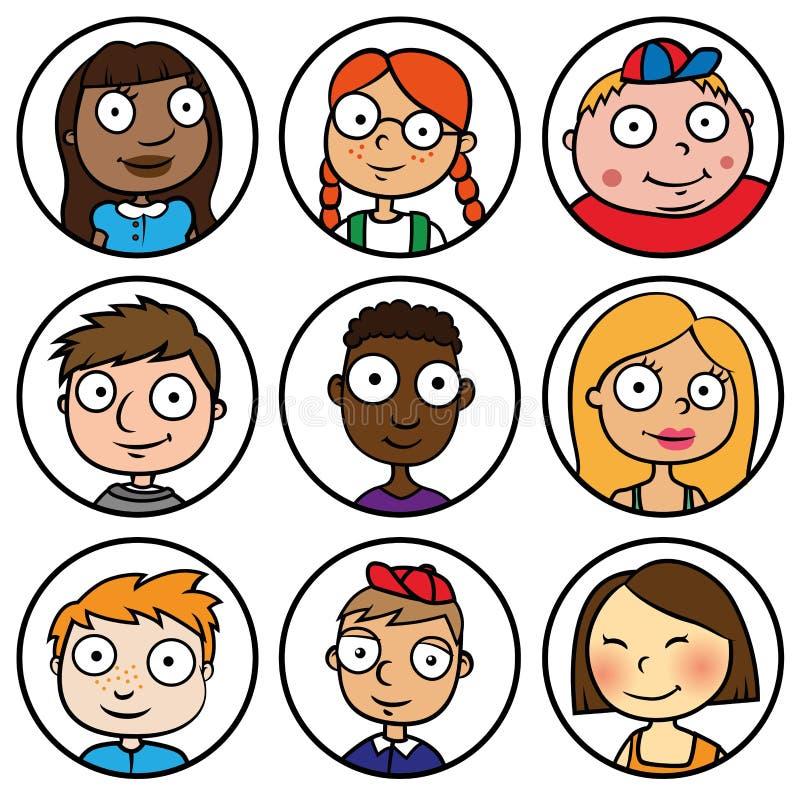 Dziecko twarzy ikon kreskówki ludzie ilustracji
