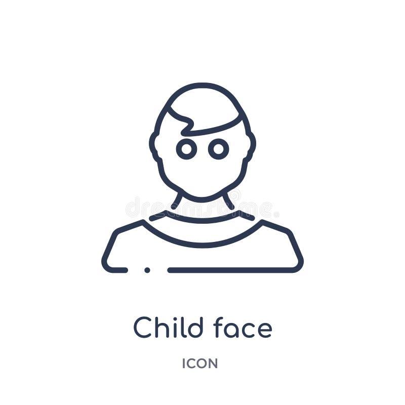 Dziecko twarzy ikona od ludzi kontur kolekcji Cienka kreskowa dziecko twarzy ikona odizolowywająca na białym tle royalty ilustracja