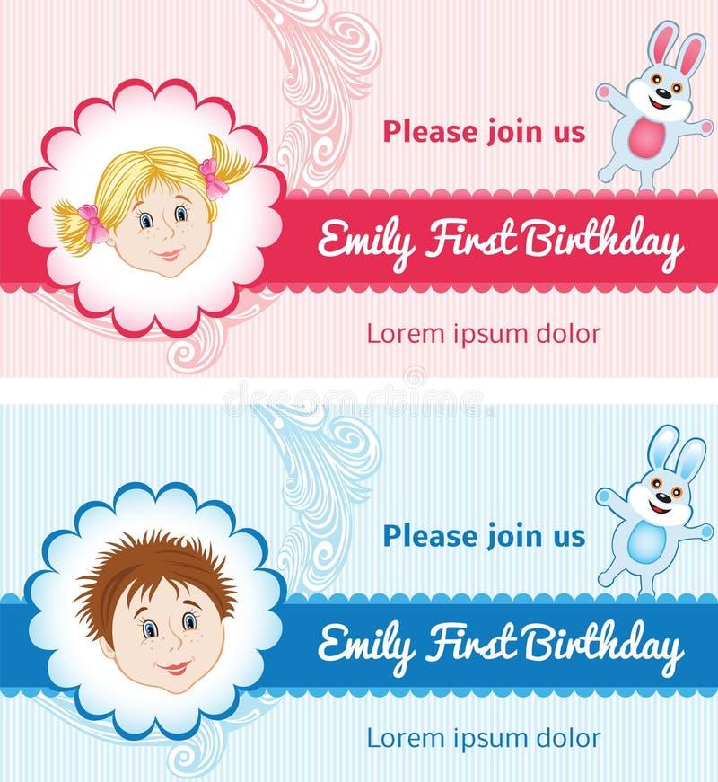 Urodzinowe karty dla dziecka ilustracji