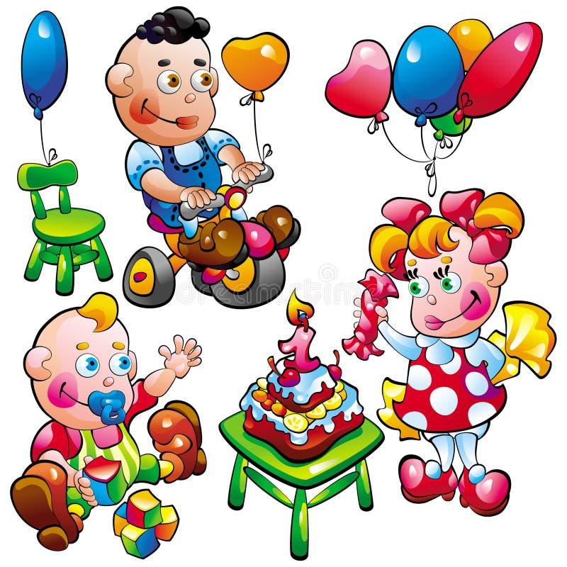 dziecko urodziny royalty ilustracja