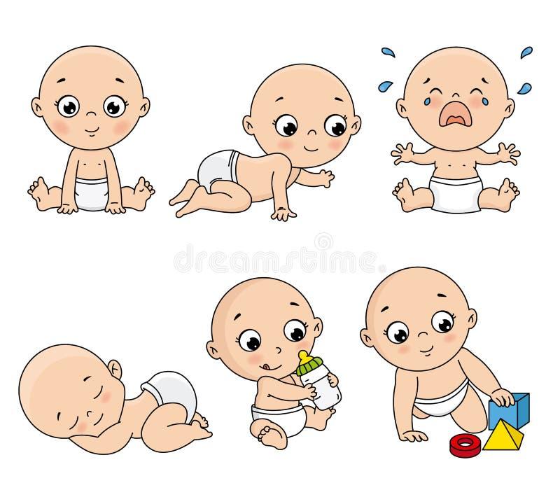 Dziecko ustawiający w różnych pozach royalty ilustracja