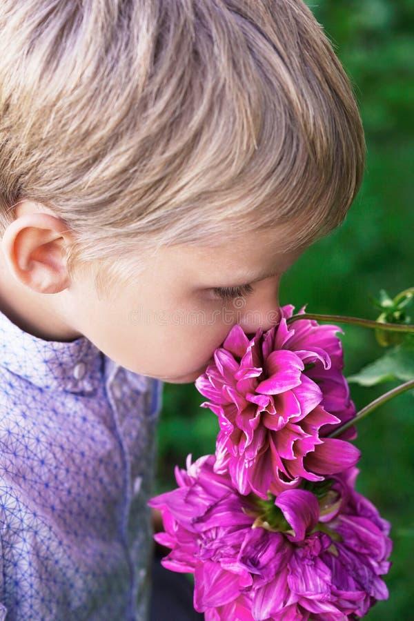 Dziecko wącha bukiet peonie Wczesna uczenie botanika zdjęcie royalty free