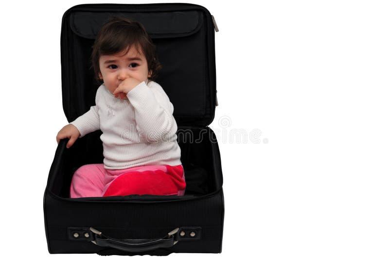 Dziecko wśrodku walizki zdjęcie stock