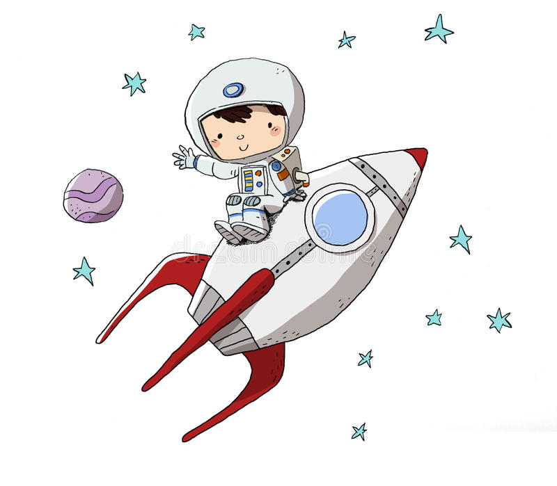 Dziecko w astronautycznym kostiumu iść w przestrzeń ilustracja wektor