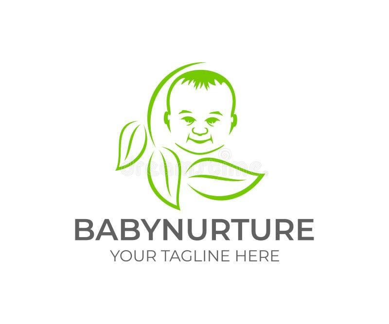 Dziecko w okręgu z liśćmi, logo projekt Macierzyństwo, childbearing i nowonarodzony dziecko, wektorowy projekt Dziecka i dzieciak royalty ilustracja