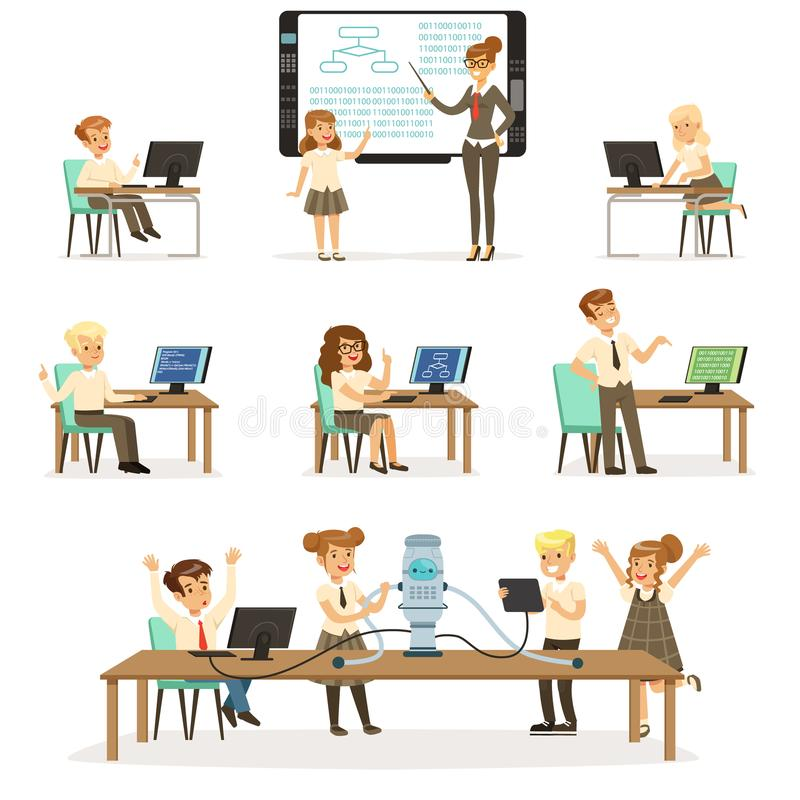 Dziecko w wieku szkolnym przy informatics i programowania lekci setem, nauczyciel daje lekci w sala lekcyjnej, żartują działanie  royalty ilustracja