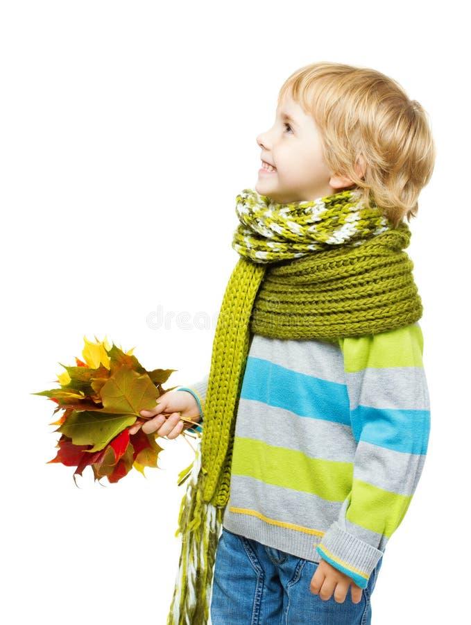 Dziecko w woolen szalika mienia liściach klonowych fotografia royalty free