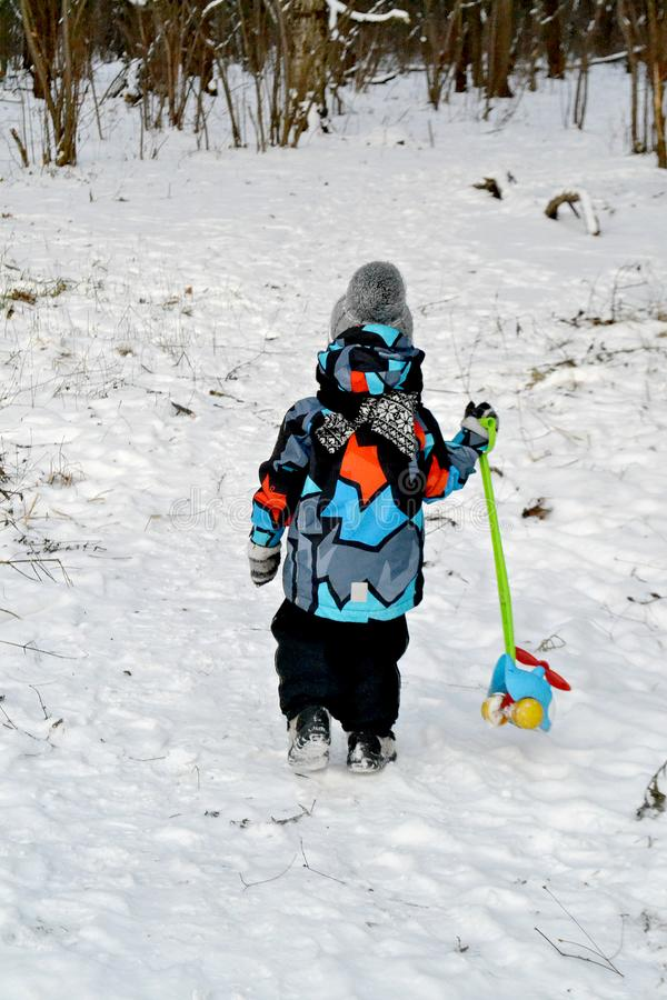 Dziecko w zimy zimnym drewnie z zabawką obrazy royalty free