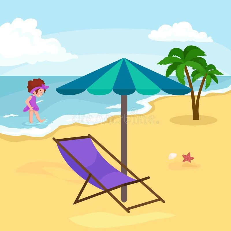 Dziecko wakacje Dzieciaki Bawić się piasek wokoło wody na plaży ilustracji