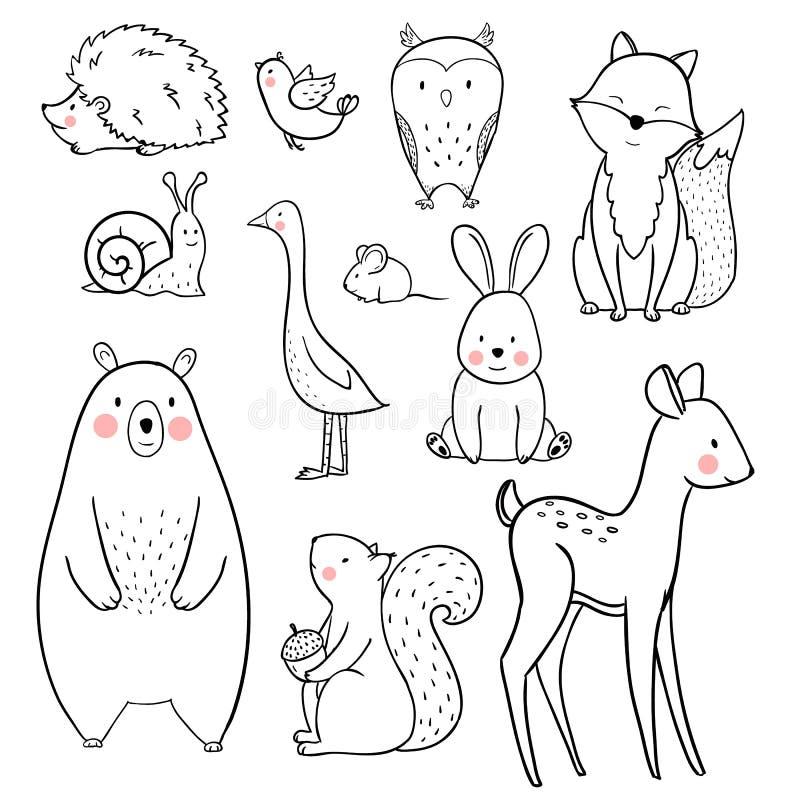 Dziecko wektoru zwierzęcy set royalty ilustracja