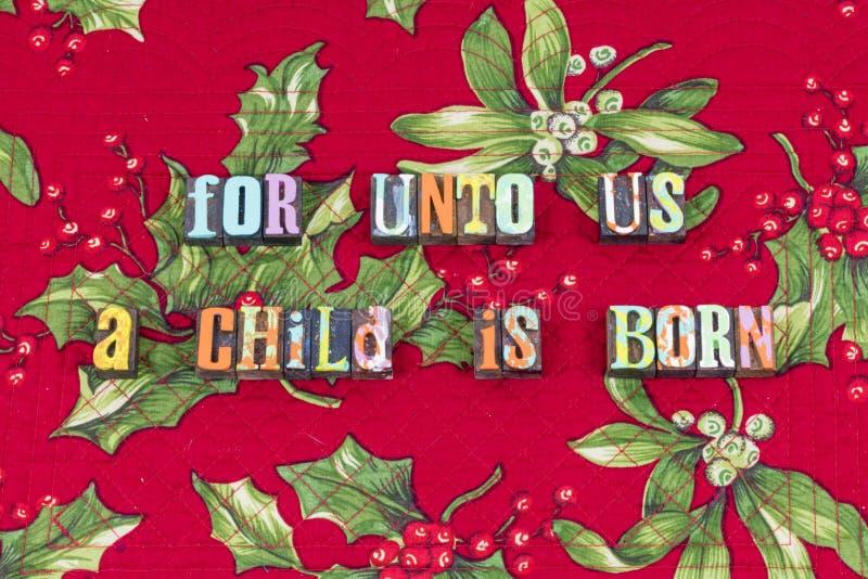 Dziecko wiary Jezus znosząca Bożenarodzeniowa typografia zdjęcia royalty free