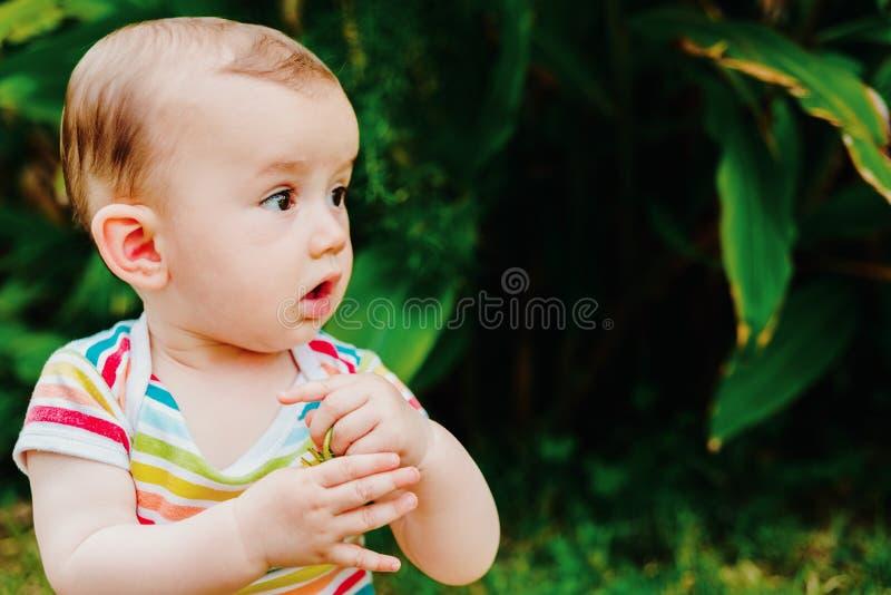 Dziecko wkładające mu do ust kwiat ogrodu, koncepcja niebezpieczeństw dla dzieci zdjęcia royalty free