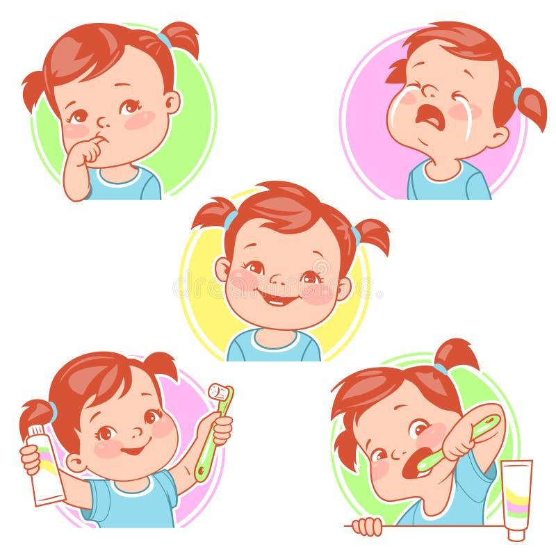 Dziecko zęby ustawiający royalty ilustracja